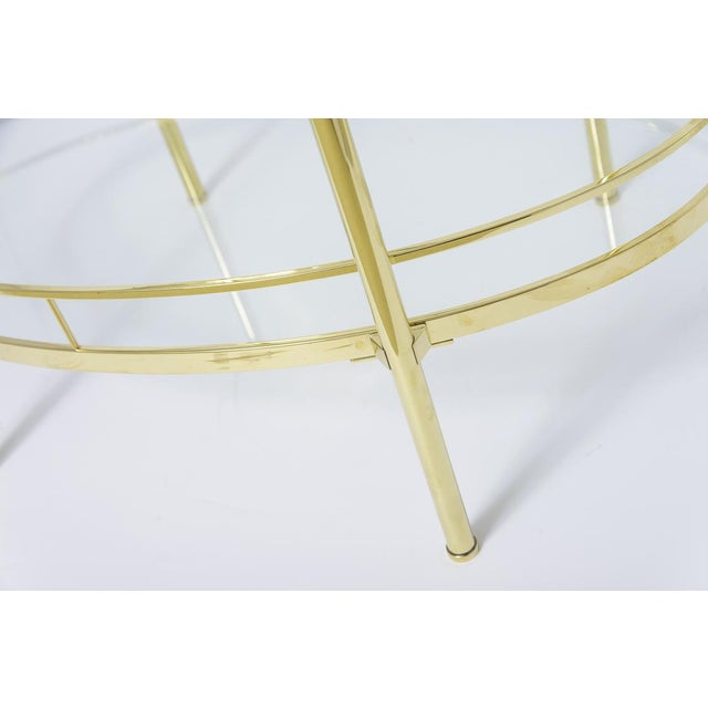 Brass Three Tier Bar/Etagere Midcentury Signed Maxwell-Phillips Oval For Sale In West Palm - Image 6 of 12