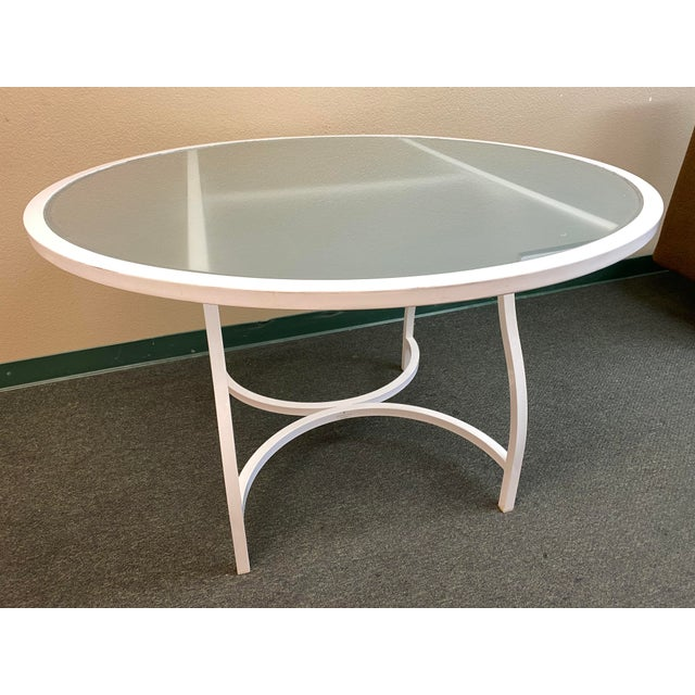 Contemporary Janus Et Cie Frosted Glass Dining Table For Sale - Image 3 of 11