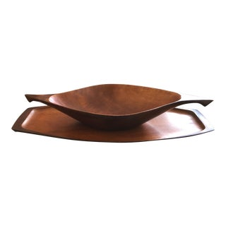1950s Wooden Carved Bowl & Tray - a Pair For Sale