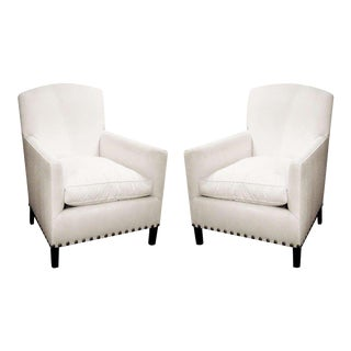 Pair of English Art Deco Style Club Chairs With Nailhead Detail For Sale