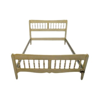 Vintage Mid-Century Ethan Allen Antique White Full Size Spindle Bed For Sale