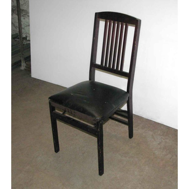 Traditional Antique Black Folding Wood Chair For Sale - Image 3 of 11