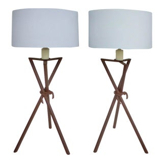 Tri-Pod Clad Metal Table Lamps - A Pair For Sale