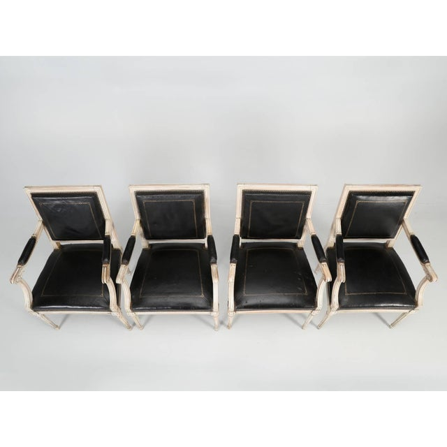Louis XVI Style Armchairs in Original Paint and Black Leather - Set of 4 For Sale - Image 10 of 13