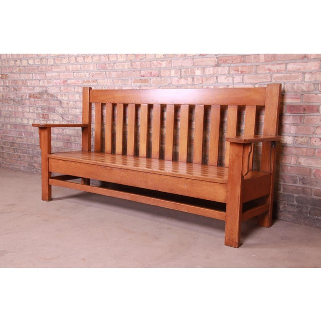 Stickley Antique Stickley Style Arts & Crafts Solid Oak Settle or Bench For Sale - Image 4 of 13