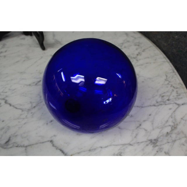 Cobalt Art Glass Ball For Sale In New York - Image 6 of 6