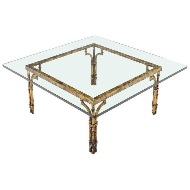 Faux Bamboo Gold Gilt Frame Square Glass Top Coffee Table For Sale - Image 12 of 12