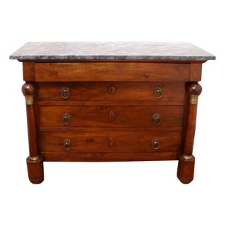 19th Century French Empire Period Large Walnut Marble Top Chest For Sale