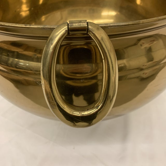 Metal Ethan Allen Large Brass Modern Planter For Sale - Image 7 of 12