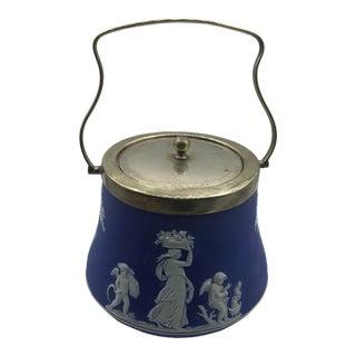 Antique Wedgwood Dipped Cobalt Jasperware Biscuit Barrel For Sale