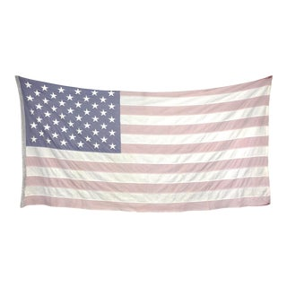 Large Faded American Flag With Embroidered Stars For Sale