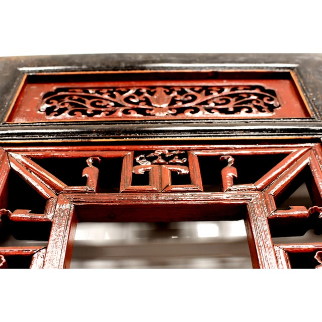 Antique Chinese Red and Black Screens - a Pair For Sale - Image 10 of 13