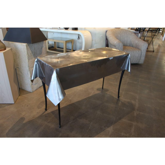 Contemporary Metal Draped Console Table With Legs For Sale - Image 3 of 9