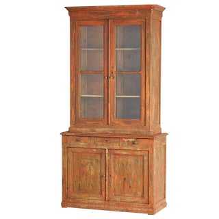 Tall French Two-Part Bookcase W/ Dry Scraped Original Red Paint Circa 1900