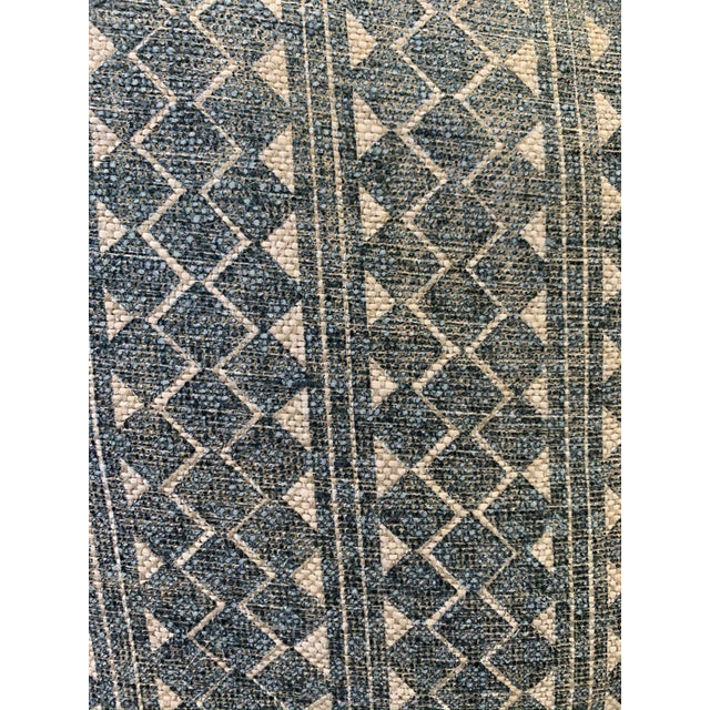 Blue & Cream Diamond Pattern Linen Pillows- a Pair For Sale - Image 4 of 8