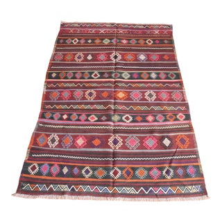 1950s Tribal Handmade Decorative Floor Turkish Kilim Rug For Sale