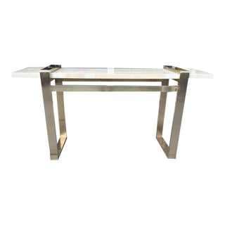 Faux Goatskin and Brass Console style of Karl Springer