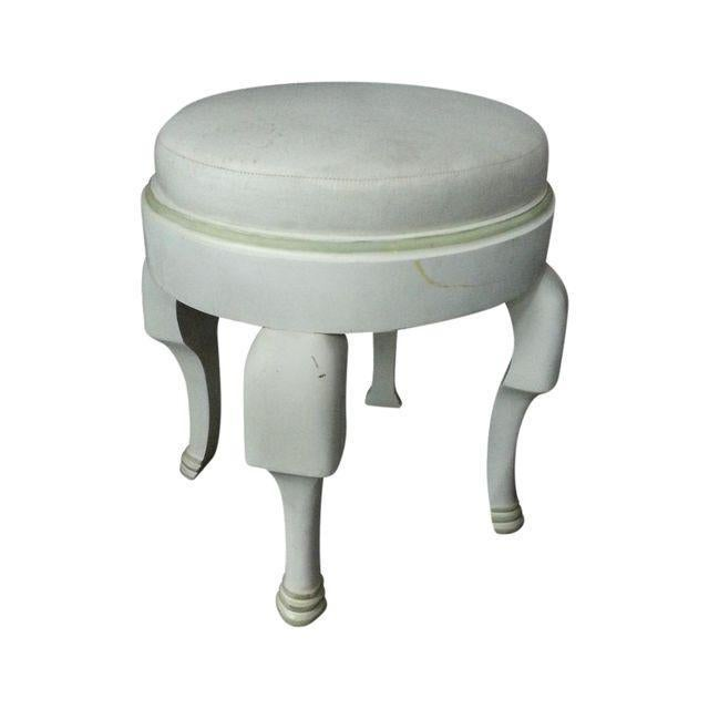 4 legs bench with elephant feet, can be a decorating items or use in front of vanity, or just seating bench. White with...