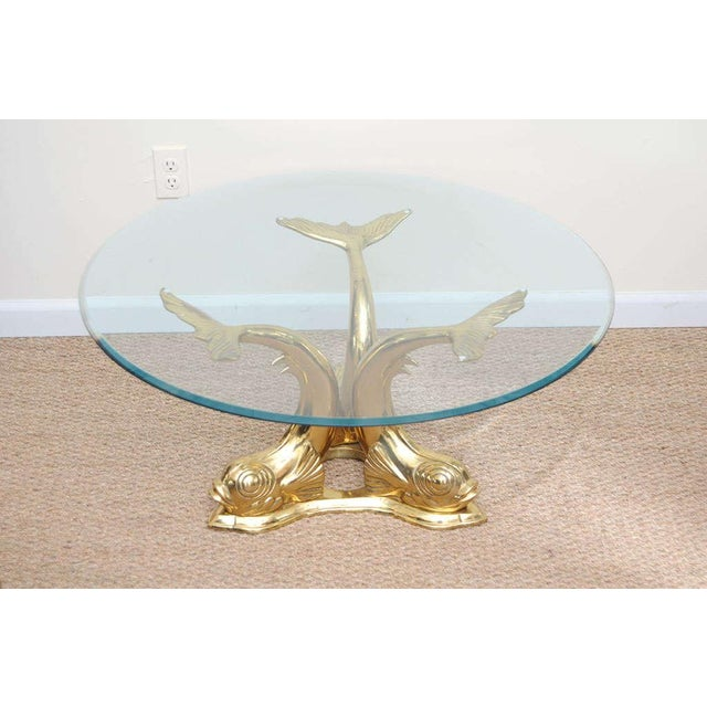 Brass Dolphin Coffee Table For Sale - Image 4 of 9