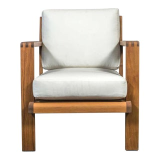 French Teakwood Lounge Chair For Sale