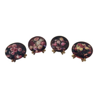 1970s Floral French Limoges Plates - Set of 4 For Sale