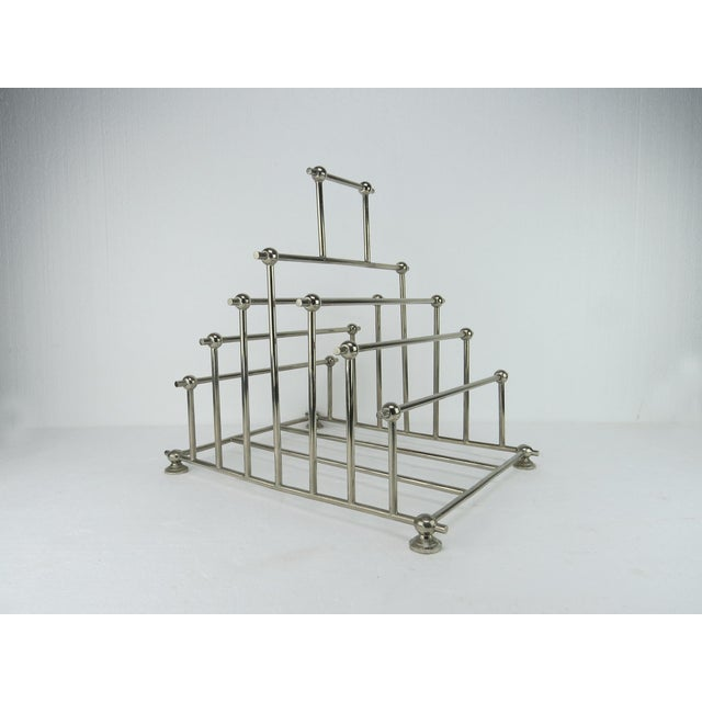 Metal 1970s Art Deco Inspired Architectural Chrome Magazine Holder/Rack For Sale - Image 7 of 10