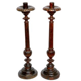 Antique Mango Wood Candlesticks - a Pair For Sale