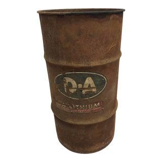 Vintage Industrial Metal Oil Barrel With Advertising For Sale