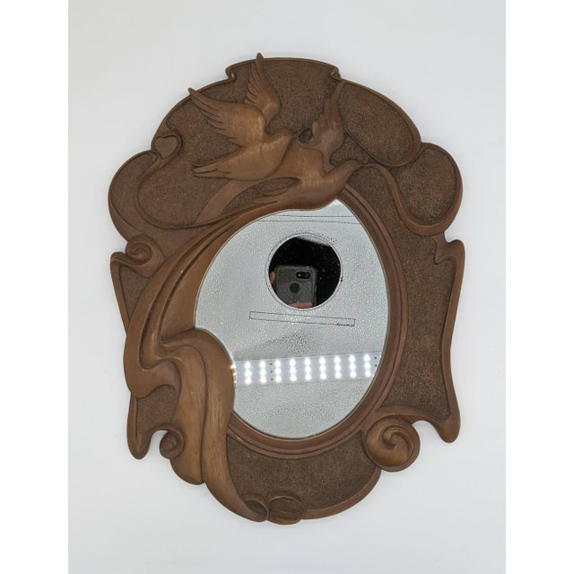 1980s Vintage Dove Bird Wood Mirror For Sale - Image 10 of 10