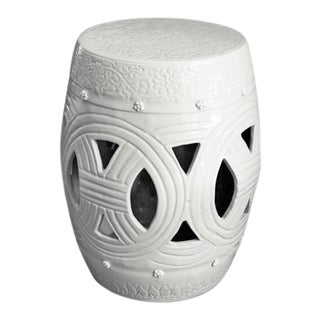 Carved Rope Garden Stool - White