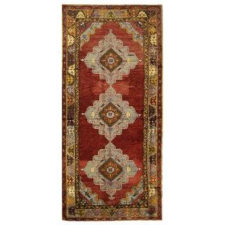 Vintage Turkish Oushak Rug - 4'8'' x 11'3'' For Sale