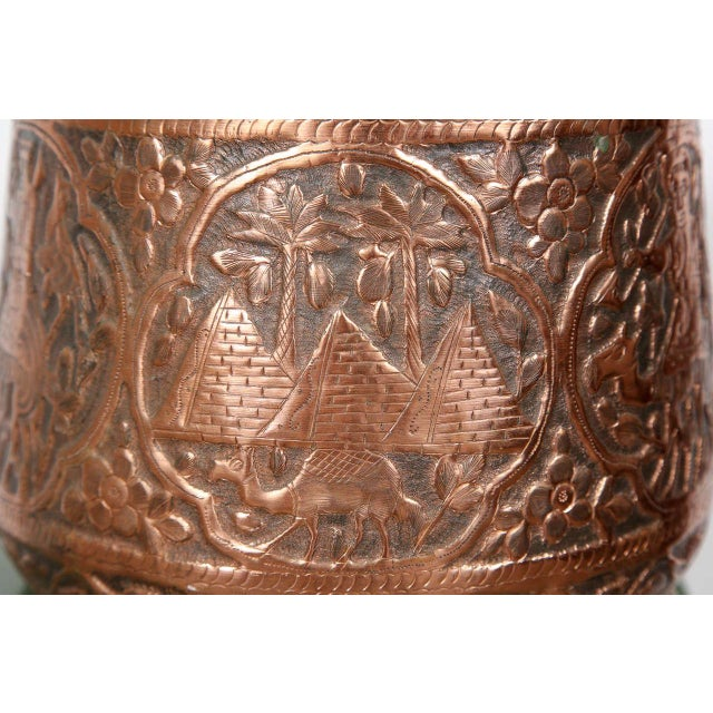 Middle Eastern Copper hand etched polished brass cache pot. Could be used as a Jardiniere. Figural scenes and pyramid...