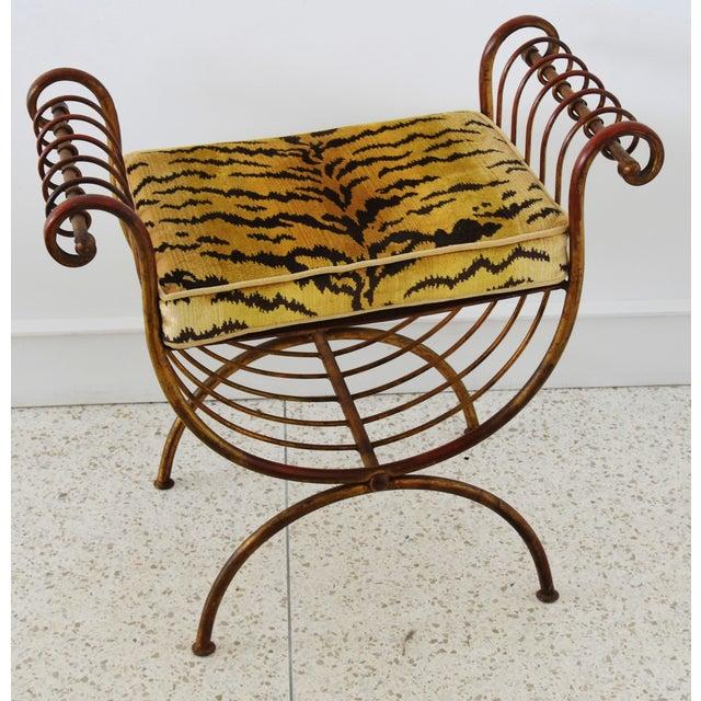 Scalamandre Velvet Tiger Hollywood Glam Italian Gilt Vanity Bench For Sale - Image 9 of 13
