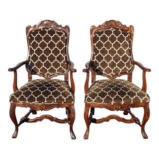 Pair of Antique French Country Brown Accent Side Chairs W New Upholstery For Sale
