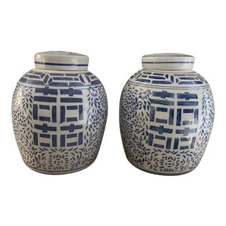 Chinese Blue and White Porcelain Double Happiness Fiber Jars- a Pair For Sale