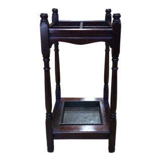 Antique English Oak Wood Umbrella Stand For Sale
