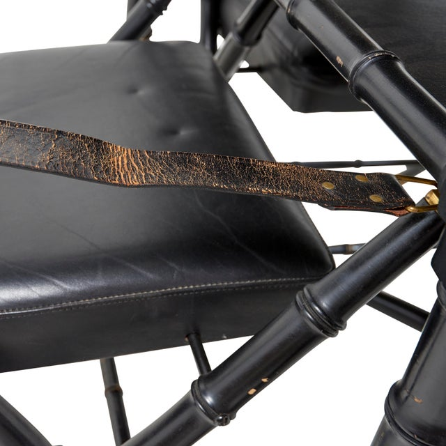 Black 1950s French Game Table and Campaign Chairs - 5 Pieces For Sale - Image 8 of 13