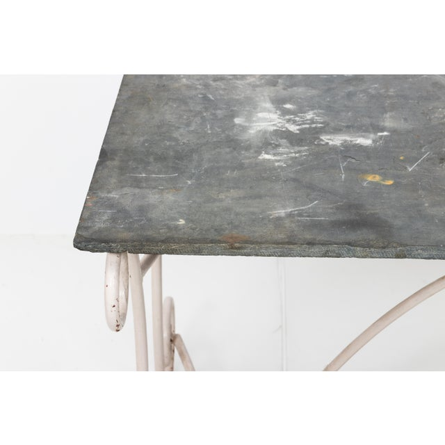 English White Scroll Base Garden Dining Table For Sale - Image 3 of 11