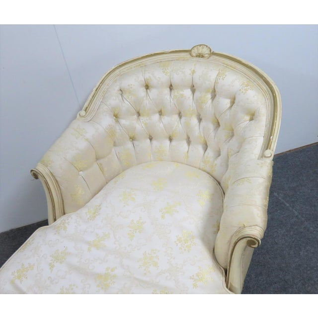 Louis XV Style Cream Painted Chaise Lounge For Sale In Philadelphia - Image 6 of 7
