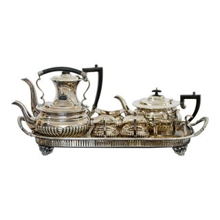 Mid Century Modern Cheltenham Sheffield 2000 Silver Plate Tea Coffee Set - Set of 8 For Sale