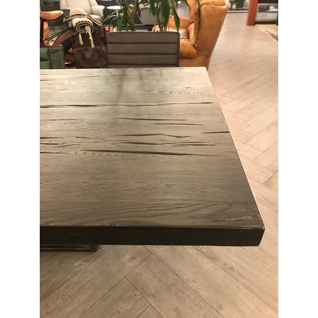 Brown Large Rustic Oak Dining Table For Sale - Image 8 of 11
