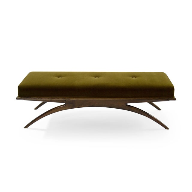 Convex Bench in Olive Mohair For Sale - Image 4 of 10