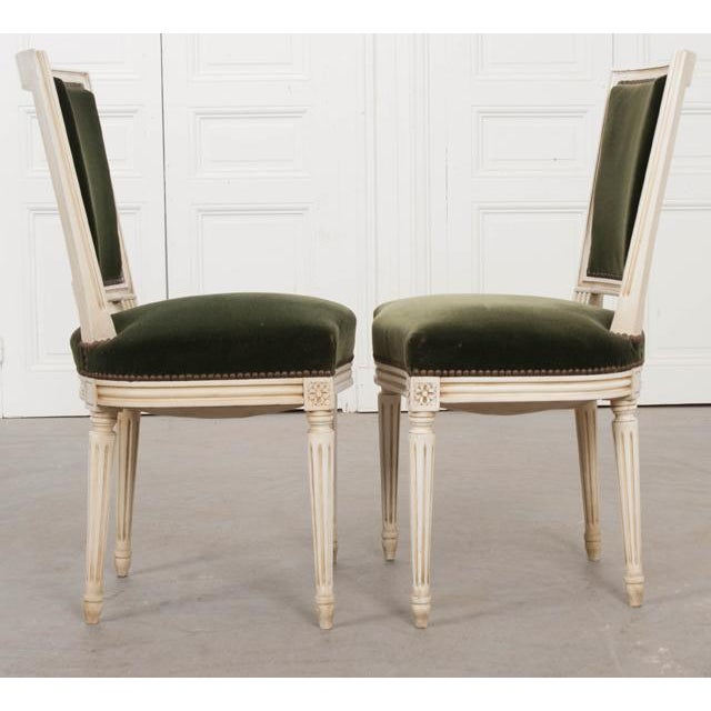French Vintage Louis XVI Painted Side Chairs - a Pair For Sale - Image 4 of 11