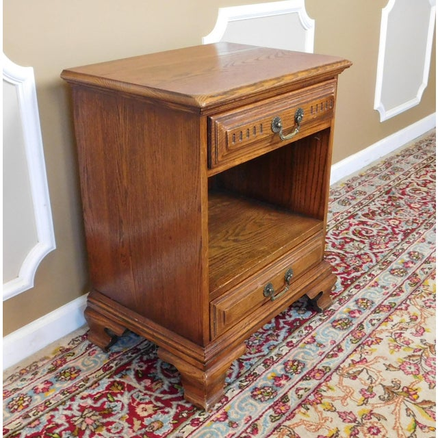 Traditional Vintage Davis Cabinet Co. Oak Nightstand For Sale - Image 3 of 6
