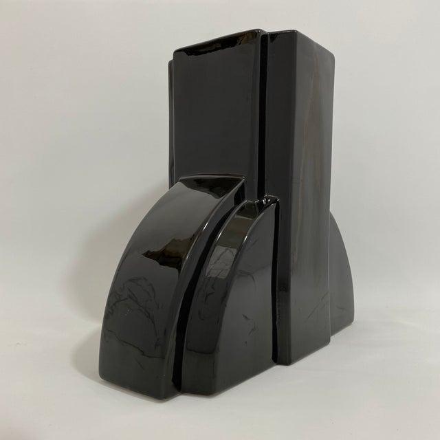 Ceramic Postmodern Black Ceramic Vase For Sale - Image 7 of 13