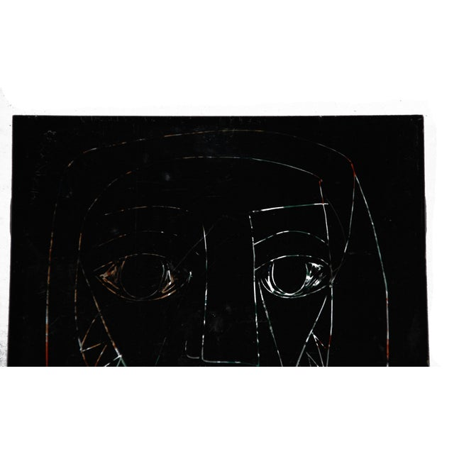 1960s Abstract Mid-Century Tile of Man's Face - Image 3 of 6
