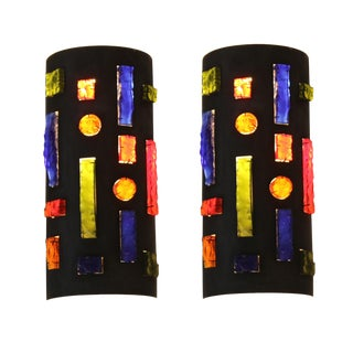 Colorful Rock Crystal French Brutalist Sconces - a Pair For Sale