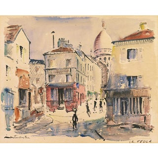 'Modernist View of the Place Du Tertre, Montmartre' by Charles Feola, Circa 1950 For Sale