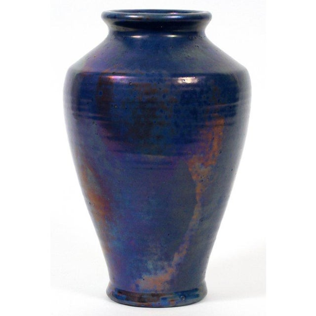 Modern Pewabic Vintage Iridescent Blue Vase For Sale - Image 3 of 5