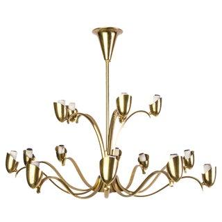 Italian Brass Candelabra Style Chandelier For Sale